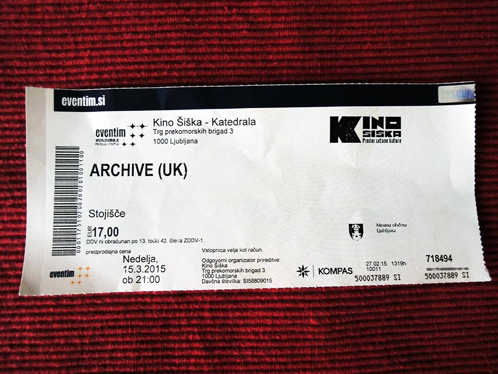 The Archive – Ljubljana, Kino Šiška (15.3.2015)