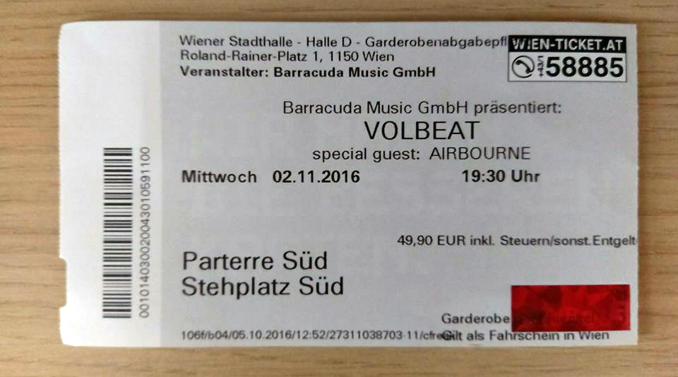 Volbeat – Dunaj, Stadthalle (2.11.2016)